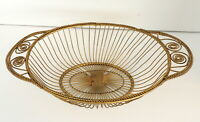 Vintage French Twisted Metal Wire Bread Basket Gold Tone Handles Farmhouse