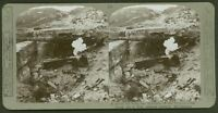Direct hit from our Monitors on Hun defence battery Meriakerke - WW1 Stereoview