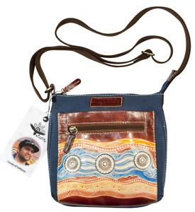 Genuine Leather / Washed Canvas Shoulder Bag 23 X 22cm - Australian Indigenous