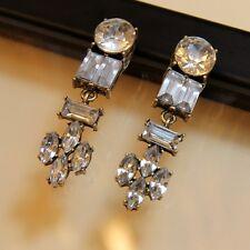 Boucles d`Oreilles Clip Longue Pendante Transparent Classique Mariage Cadeau J6