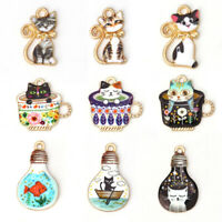 10Pcs Cartoon Animal Cat Enamel Metal Charms Pendants Necklace Jewelry DIY Gift