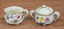 "1 1/2"" Inch Collectible Two Piece Set Ceramic Cups / Pots with 3D Flowers *Read*"