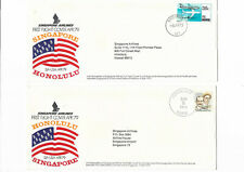 Singapore Airlines 1979 First Flight Cover to Honolulu 2 pcs