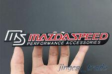 MS Red MAZDASPEED Logo 3D Thick Aluminium Car Emblem Sticker Decal OEM For Mazda