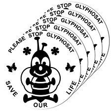 5 Aufkleber 10cm Bienen Umwelt Blüten Schutz Please Stop Glyphosat Save our Life