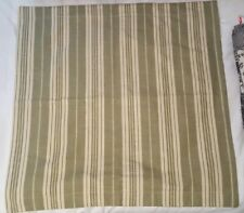 Chaps Ralph Lauren 100% Cotton Euro Pillow Sham Natural Green Stripe Buttons Euc