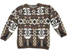 Mens Vintage 1980s Ugly Sweater Cosby Dad Sweater Brown Mohair 80s Geometric