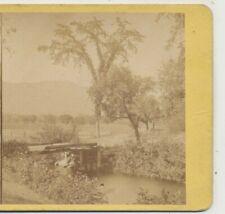 Artist Brook & Crude Wooden  Bridge Conway NH Stereoview 1870