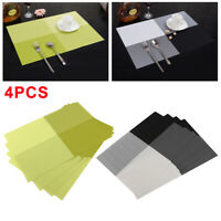 Table Mats Pad Set of 4 Placemat Vintage PVC Insulation Plaid Dining Coaster UK