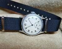 RARE 1940'S WW2 MOERIS MILITARY SILVER SUB SECOND DIAL MAN'S WATCH