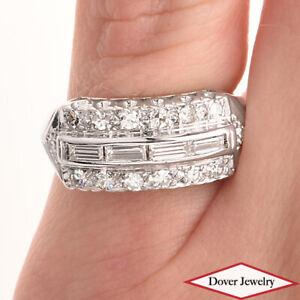 Estate 0.75ct Diamond 14K White Gold Cluster Band Ring NR