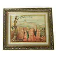 Vtg MId Century Signed Watercolor Desert Mountain Landscape Painting Framed