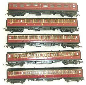 Rake of 5 Hornby LMS Coaches VGC 00 Gauge OO Buffet + Brake + Composite VGC