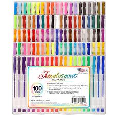 US Art Supply Jewelescent 100 Color Gel Pen Set Classic Glitter Metallic Neon