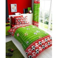 FOOTBALL GOAL SHOOT KIDS BOYS SINGLE BED DUVET QUILT COVER BEDDING SET GREEN RED
