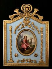FABULOUS ANTIQUE PICTURE FRAME WITH BEAUTIFUL PORCELAIN