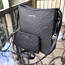 Michael Kors Women PVC Leather Messenger Crossbody Bag Handbag Purse MK + Wallet