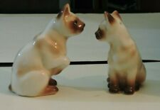 Vintage SALT AND PEPPER SHAKERS Porcelain Siamese Cats Standing Up