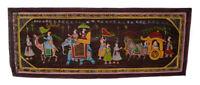 Parete Pittura Mughal Su Seta Arte Scena Di Vita India 97x37cm 5