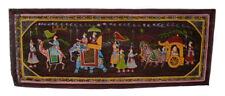 Tenture Murale Peinture Moghole sur Soie Art Scene de vie Inde 97x37cm 5