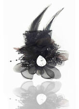 Headdress Flower Feather Rhinestone Hair Pin Brooch Clip Party Wedding Black