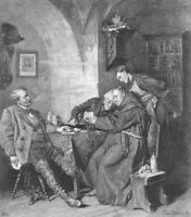 CATHOLIC CHURCH MONK FRIAR LOSES AT CARDS POKER GAME ~ 1882 Art Print Engraving