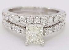 1.71 ct 18K White Gold Princess Diamond Engagement Ring Wedding Set Rtl $5,500