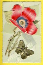 Carte Noël 1945 CHROMO Celluloid Ajoutis Die cut PAPILLON FLEUR Ruban Soie Silk