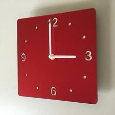 Square Red Mirror & White Clock (white Back) white Hands Silent Sweep Movement
