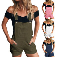 88f7d8834e5b Women Loose Denim Bib Hole Pants Overalls Jeans Demin Shorts Jumpsuit Romper