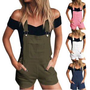 Women Denim Bib Hole Pants Overalls Jeans Demin Shorts Jumpsuit Romper New