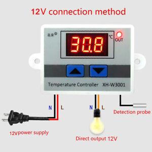 Digital Temperature Controller Outlet DC 12V/AC 220V Thermostat W/ Sensor Probe