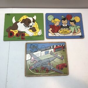 Lot 3 Vintage Children's Wood Puzzles: Airplane, Dog, Happy Birthday 1950's