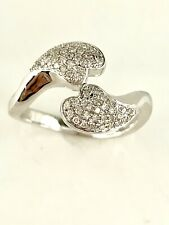 Olivia Diamond Double Hearts Ring in Sterling Silver Sz 7.25  #64