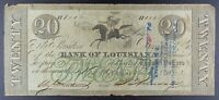"""1862 Bank of Louisiana $20 """"Forced Issue"""" Banknote."""