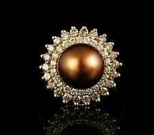 LEVIAN GENUINE 10.5MM CHOCOLATE PEARL & 1.0ctw DIAMOND HALO 14K HONEY GOLD RING