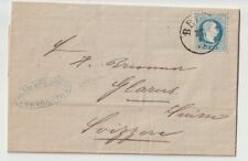 BEIRUT Austrian Levant 10 SLD BLUE ON 1882 folded letter to GLARUS SWITZERLAND