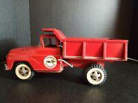 Vintage Tonka Hydraulic Dump Truck, Pressed Steel Toy Vehicle, Red 1960's