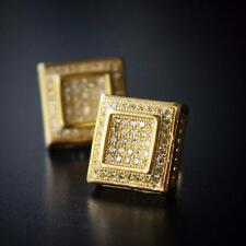 Mens Canary Yellow Gold Square Stud Earrings