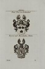 1824 BLASON NOBLESSE Brun PEZ de lichtenhof Peyrer sur mierskofen cuivre TYROFF