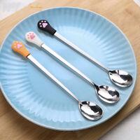 Kitchen Tableware Fruit Flatware Stainless Steel Cute Cat Claw Coffee Spoon