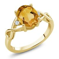 1.55 Ct Oval Yellow Citrine White Topaz 18K Yellow Gold Plated Silver Ring