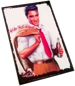 ELVIS PRESLEY Drinking Coca Cola Wooden Fridge Magnet Rock Merchandise