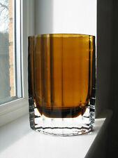 Lindshammar ribbed amber vase Gunnar Ander Sweden c1960