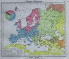 Europa Religionen - alte Karte Landkarte aus 1922 old map