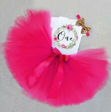 baby girl first 1st birthday outfit party dress cake smash photo shoot tutu bow