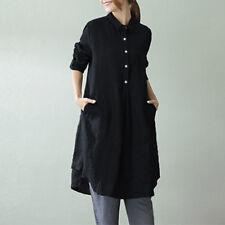 ZANZEA Women Buttons Neck Casual A-Line Party Long Shirt Dress Mini Dress Plus