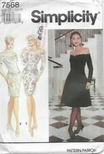 Simplicity Sewing Pattern 7568, Slim or Flared Off-shoulder Dress, Size 12 14 16