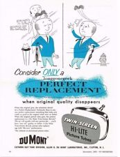 1955 Dumont Twin Screen Hi Lite TV Picture Tube Replacement Vtg Print Ad