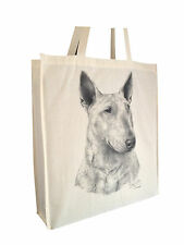 Bull Terrier Cotton Shopping Bag with Gusset and Long Handles Perfect Gift